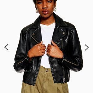 TOPSHOP Real Leather Biker Jacket NWT Black Moto